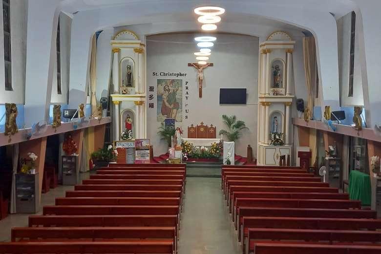 Une vue de l'église catholique Saint-Christophe vide à Taipei, ville de Taiwan. L'archidiocèse de Taipei a fermé des églises au milieu d'une augmentation des cas de Covid-19